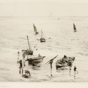 WILLIAM LIONEL WYLLIE - ETCHING - SHERINGHAM CRABBERS