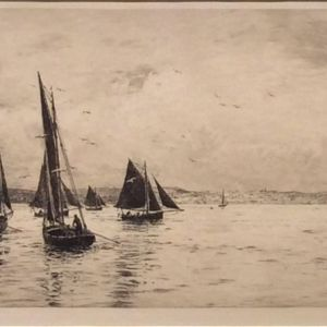 WILLIAM LIONEL WYLLIE-ETCHING-FISHING BOATS SOLENT