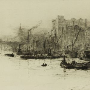 WILLIAM LIONEL WYLLIE-ETCHING-THAMES SCENE BILLINGSGATE