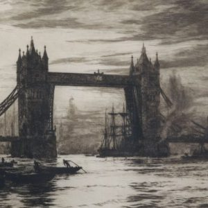 WILLIAM LIONEL WYLLIE-ETCHING-TOWER BRIDGE