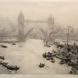 WILLIAM LIONEL WYLLIE-ETCHING-THE TOWER BRIDGE LONDON