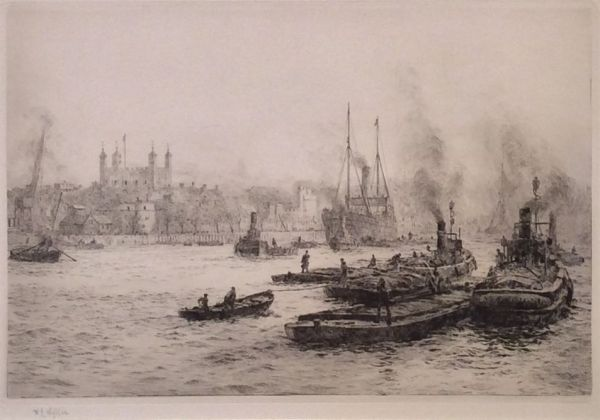 WILLIAM LIONEL WYLLIE - ETCHING - TOWER OF LONDON RIVER THAMES