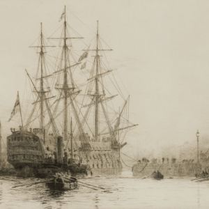 WILLIAM LIONEL WYLLIE-ETCHING-VICTORY'S LAST JOURNEY