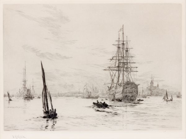 WILLIAM LIONEL WYLLIE - ETCHING - HMS VICTORY IN PORTSMOUTH HARBOUR