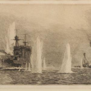 WILLIAM LIONEL WYLLIE - ETCHING - HMS WARSPITE AND HMS WARRIOR