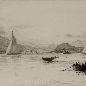 WILLIAM LIONEL WYLLIE - ETCHING - YATCHING ON LOCH LONG