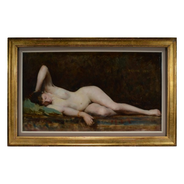 PAUL EMILE CHABAS OIL PAINTING RECLINING NUDE