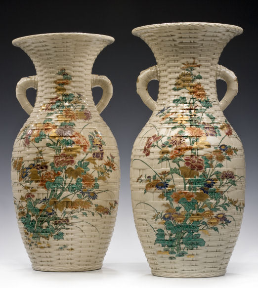 PAIR LARGE JAPANESE SATSUMA VASES