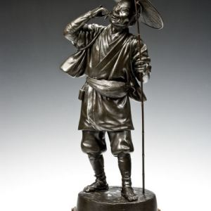 JAPANESE BRONZE FIGURE CRICKET CATCHER