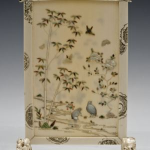 JAPANESE IVORY SHIBAYAMA TABLE SCREEN