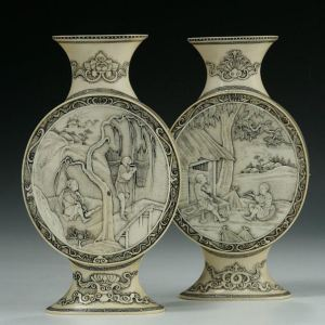 PAIR JAPANESE IVORY FLASKS