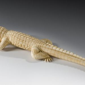 JAPANESE IVORY FIGURE OF A CROCODILE