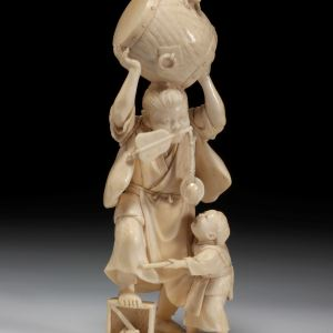 JAPANESE IVORY OKIMONO OF TWO BOYS