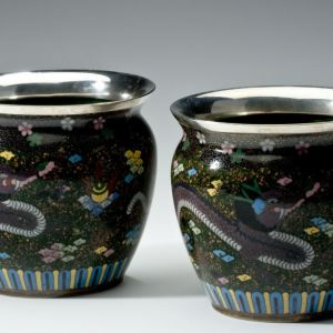 ANTIQUE PAIR OF JAPANESE CLOISONNE POTS