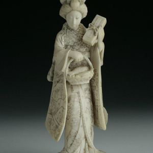 JAPANESE IVORY OKIMONO OF A GEISHA