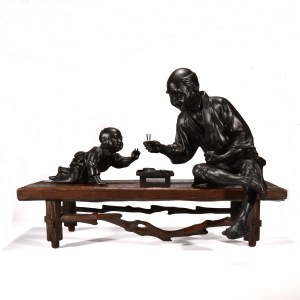 ANTIQUE JAPANESE BRONZE TABLE GROUP OF MAN & CHILD
