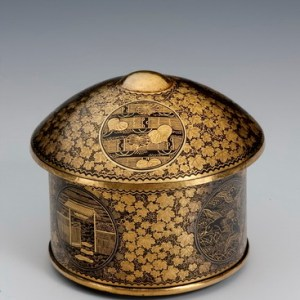 JAPANESE CIRCULAR KOMAI LIDDED BOX