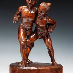 JAPANESE WOODEN OKIMONO OF TWO WRESTLERS
