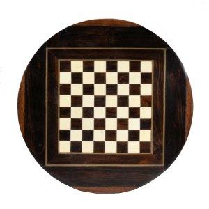 19TH CENTURY CIRCULAR ROSEWOOD CHESS BOARD