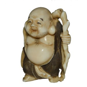 ANTIQUE JAPANESE IVORY NETSUKE OF HOTEI