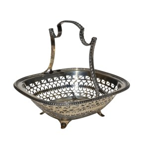 ANTIQUE PIERCED SILVER BASKET WITH HANDLE