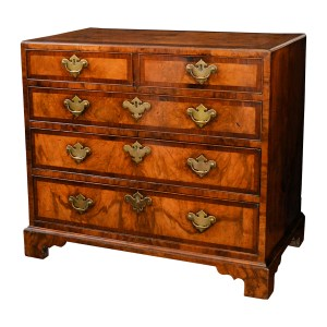 ANTIQUE GEORGE II SMALL WALNUT CHEST OF DRAWERS