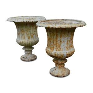 ANTIQUE PAIR OF VICTORIAN CAST IRON GARDEN URNS