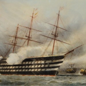 WILLIAM EDWARD ATKINS-WATERCOLOUR-SHIPPING IN PORTSMOUTH HARBOUR