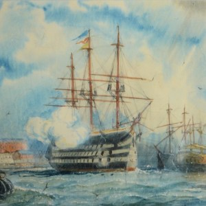 WILLIAM EDWARD ATKINS-WATERCOLOUR-HMS VICTORY FIRING SALUTE