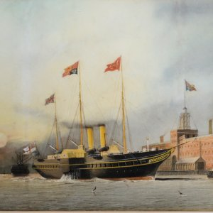 WILLIAM EDWARD ATKINS-WATERCOLOUR-HMY VICTORIA AND ALBERT II