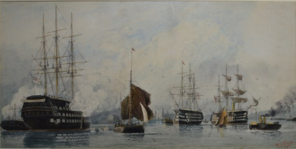 WILLIAM EDWARD ATKINS-WATERCOLOUR-SHIPS OF THE LINE PORTSMOUTH HARBOUR