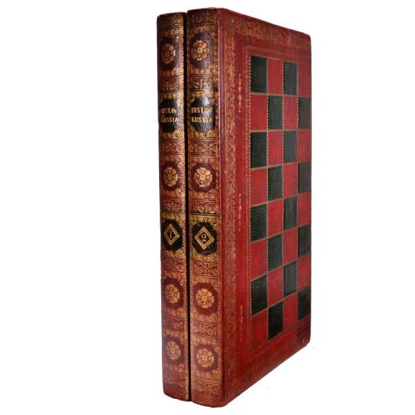 ANTIQUE FOLDING CHESS & BACKGAMMON LEATHER BOOK