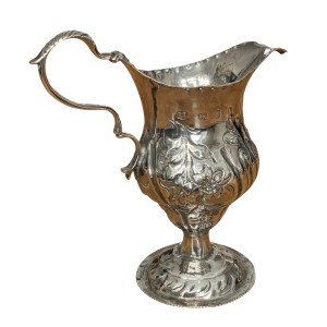 ANTIQUE GEORGE III SILVER CREAM JUG BY JOHN LAMBE