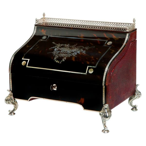 ANTIQUE TORTOISESHELL AND SILVER DESK BY WILLIAM COMYNS
