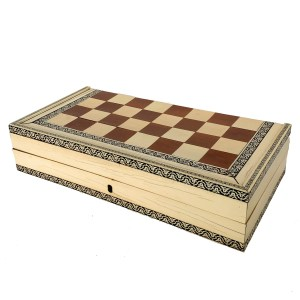 ANTIQUE VIZAGAPATAM IVORY FOLDING CHESS BACKGAMMON BOX