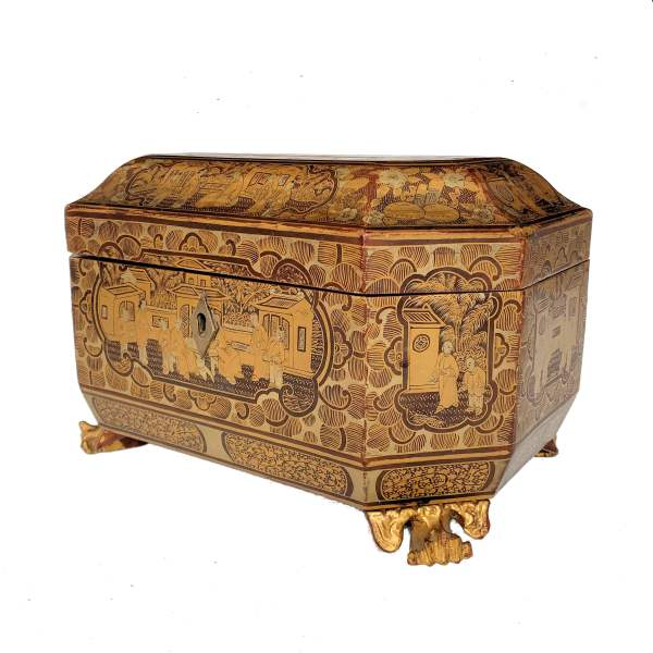 ANTIQUE CHINESE LACQUER TWO COMPARTMENT TEA CADDY