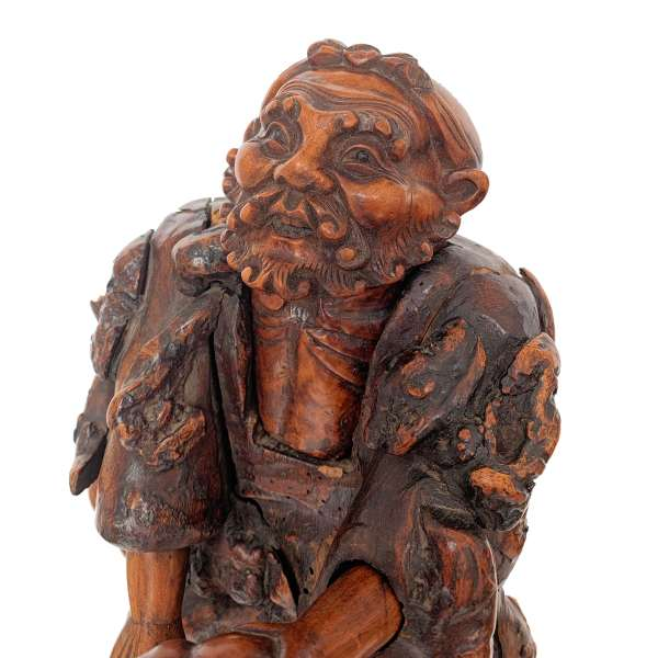 ANTIQUE CHINESE CARVED ROOT WOOD FIGURE OF LI TIEGUAI