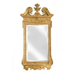 ANTIQUE GEORGE II GILT FRAMED RECTANGULAR MIRROR