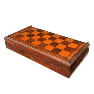 LARGE ANTIQUE ROSEWOOD FOLDING FITTED CHESS BOARD