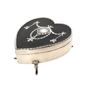 ANTIQUE SILVER & TORTOISESHELL HEART SHAPED JEWELLERY BOX