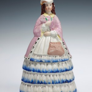 ANTIQUE STAFFORDSHIRE TWO PIECE BOX FIGURE PRINCESS ALICE