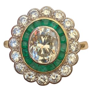 FIND LARGE EMERALD AND DIAMOND CLUSTER RING FOR SALE