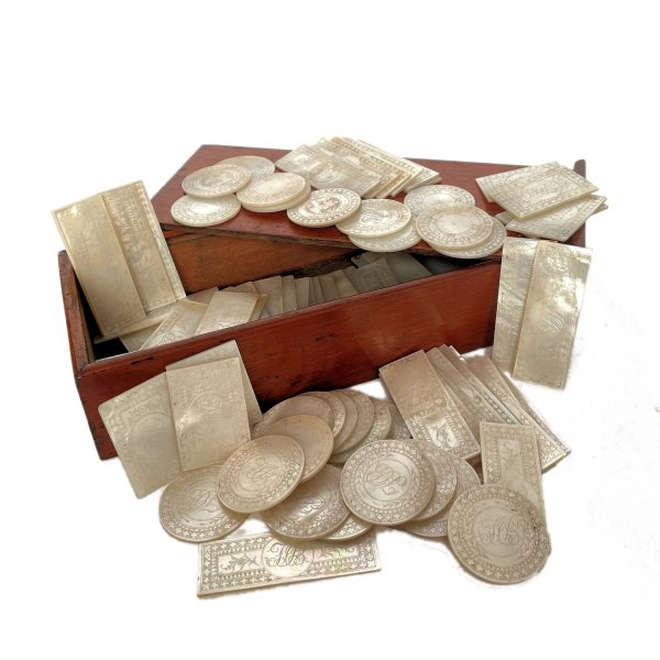 FIND ANTIQUE CHINESE MOP GAMING COUNTERS FOR SALE