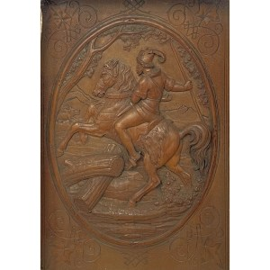 FIND ANTIQUE WOODEN CARVED PICTURE WILD BOAR HUNT