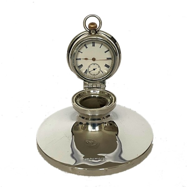 FIND ANTIQUE SILVER CLOCK INKWELL FOR SALE IN UK