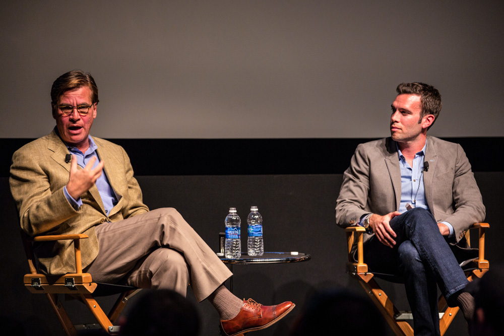 Writer Aaron Sorkin speakign with former Chief Presidential Speechwriter Jon Favreau at the Tribeca Film Festival 2014