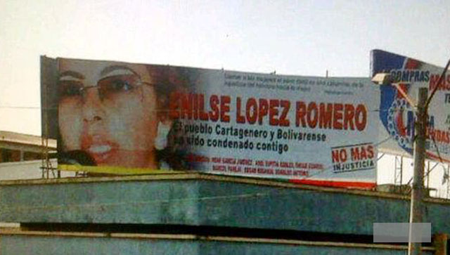 the Billboard proclaiming the innocence of Enilse Lopez