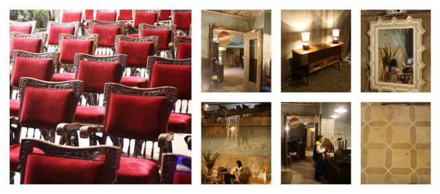 the interiors of the Teatro San Jorge are in a terrible state. A cafe was set up for the event despite collapsing ceilings and period furniture was brought in as well