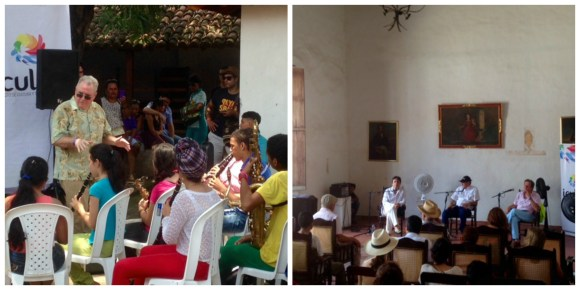 the semilleros receiving instruction and the tertulia in the Casa de la Cultura