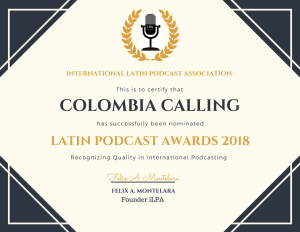 LPA Nomination Certificate for Colombia Calling
